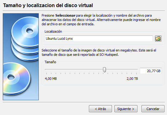 Tamaño del disco virtual