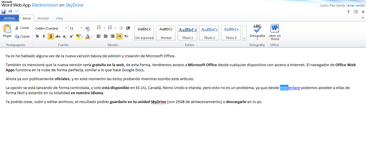 Probando Office Web Apps