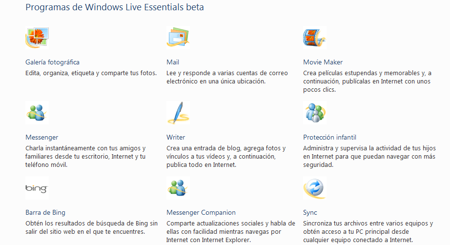 Programas de Windows Live Essentials