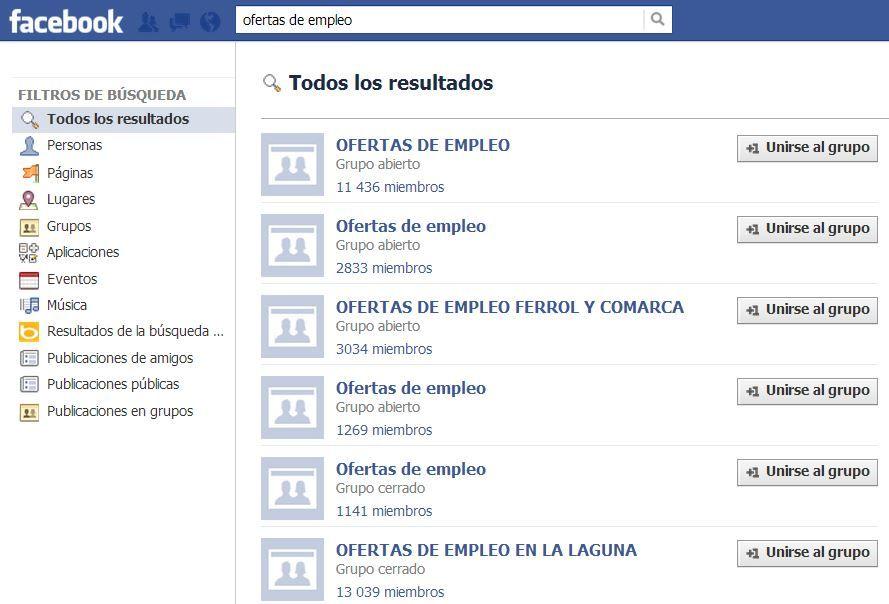 Buscar trabajo en Facebook