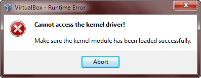 Cannot access the kernel driver!