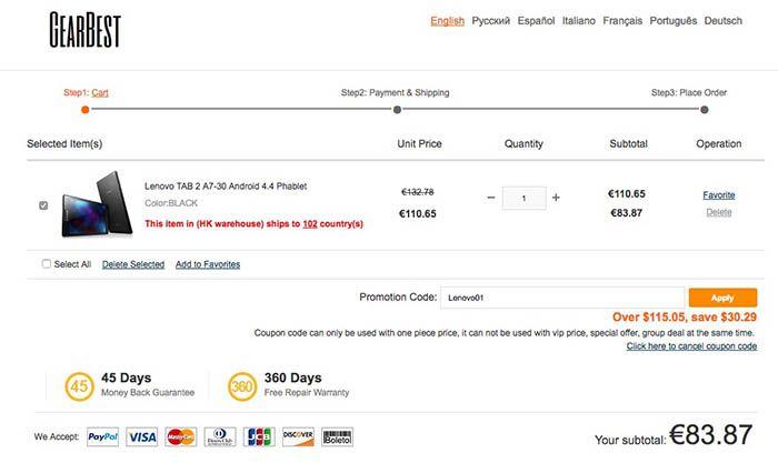Comprar Lenovo Tab 2 por 83 euros