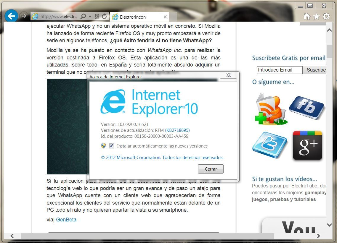 Internet Explorer 10 en Windows 7