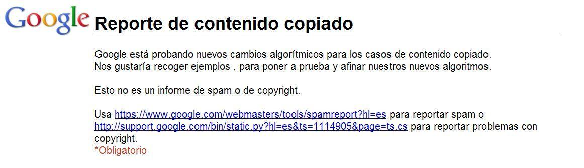 Reporte de contenido copiado a Google