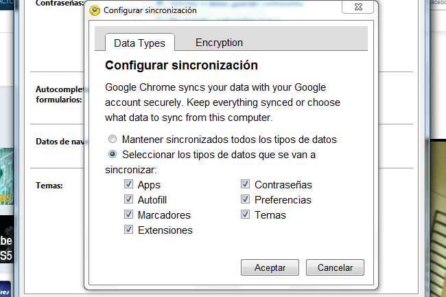 Sincronizar contraseña chrome