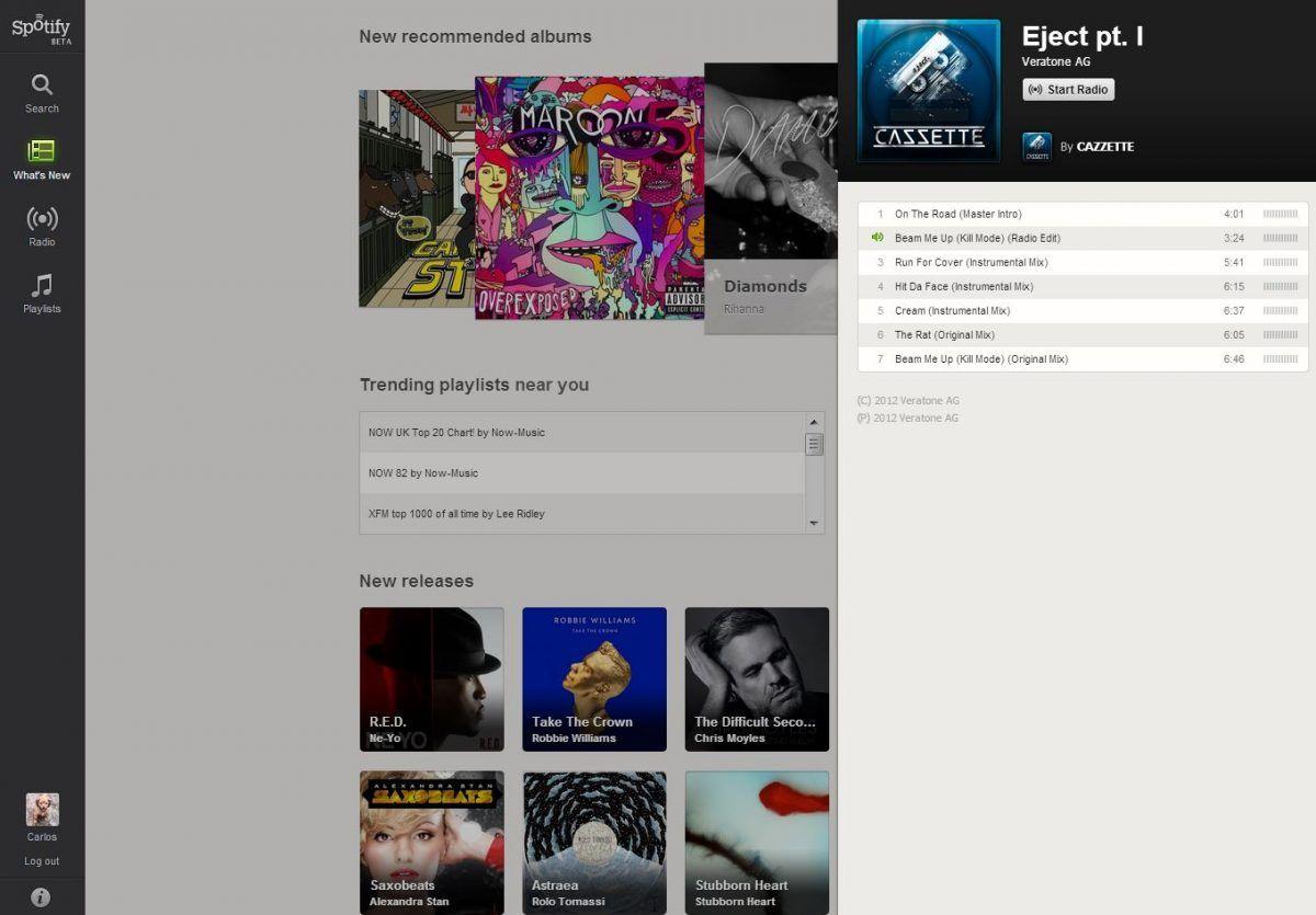Spotify versión web