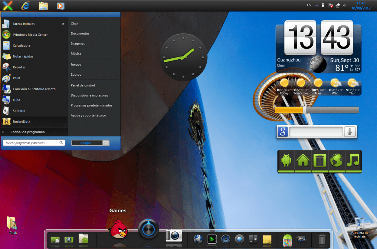 Windows 7 con tema Jelly Bean