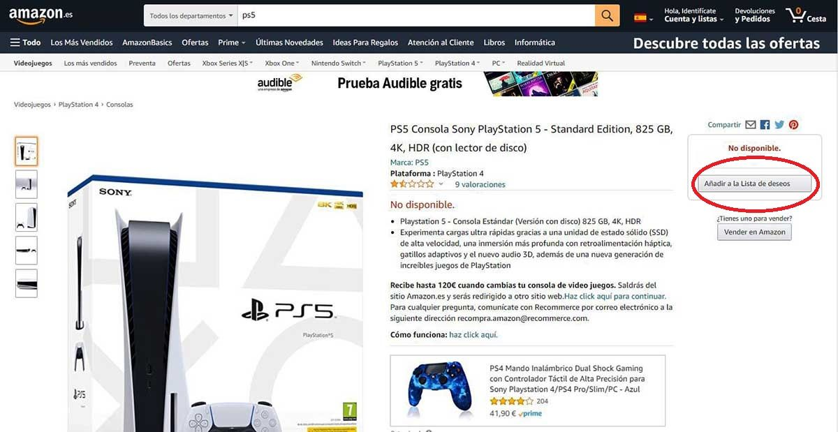 comprar PS5 en España amazon