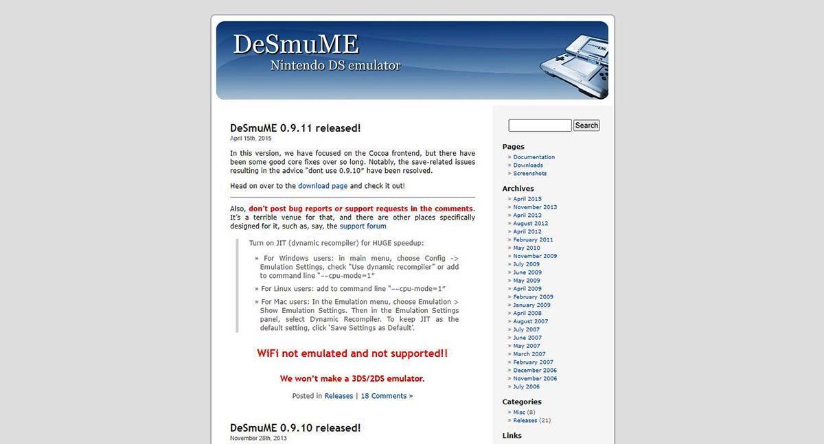 emulador nintendo DS DeSmuME